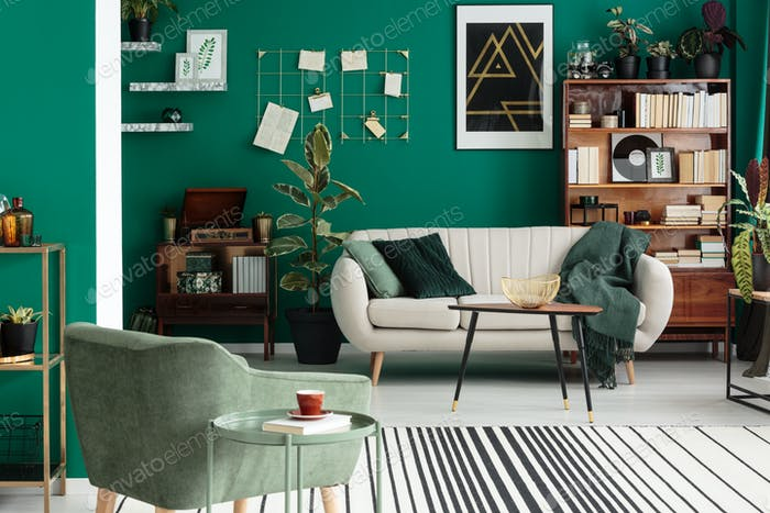 Green elegant living room interior