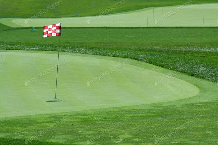 Glof flag on a green with fairway