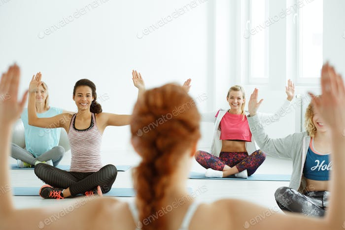 Girls during yoga classes