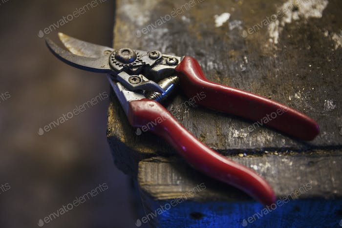 Close up of a pair of cutting shears in a sailmaker's workshop.