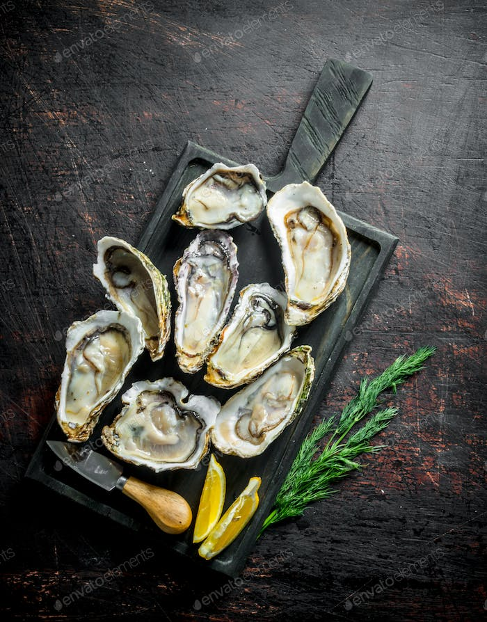 Fresh oysters on a cutting Board with dill and lemon.