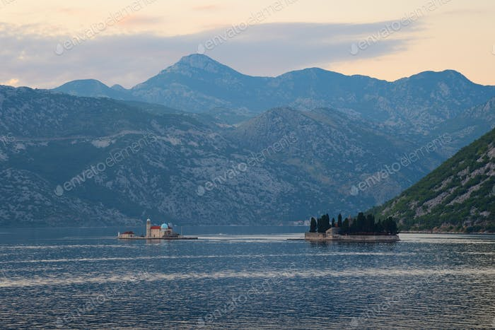 View on Islands of Saint George and Our Lady of the Rocks in Bay of Kotor, Montenegro