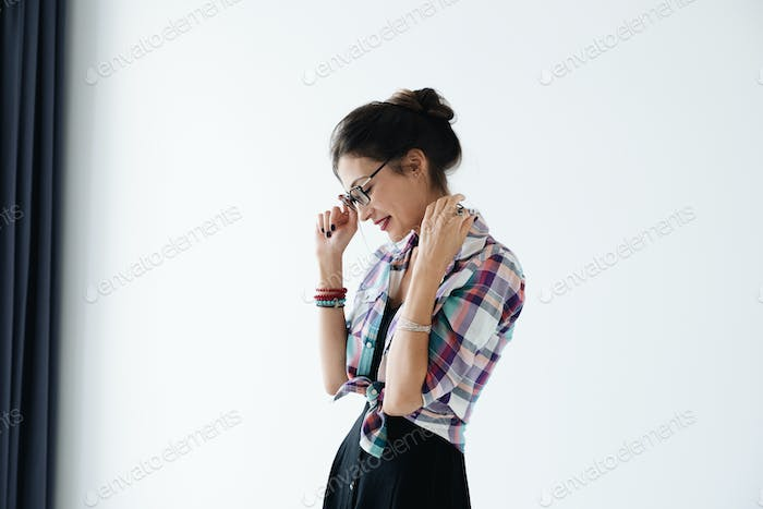 Profile of woman wearing glasses