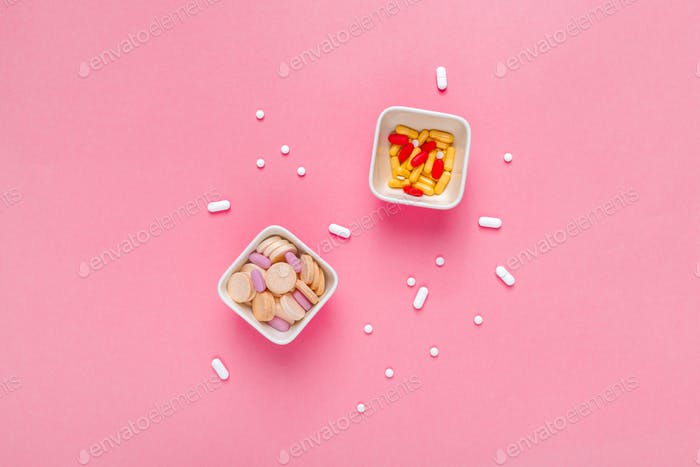 Medication drugs and pills overuse and abuse concept