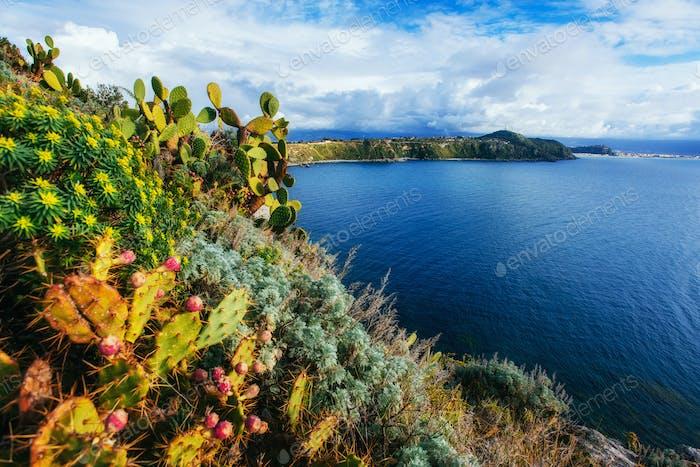 The trail on the hillside by the sea. Lipari island