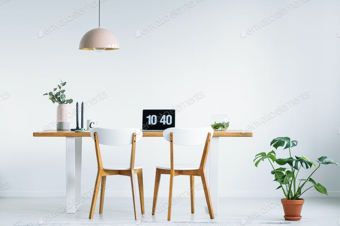 White chairs at wooden table with laptop in workspace interior w
