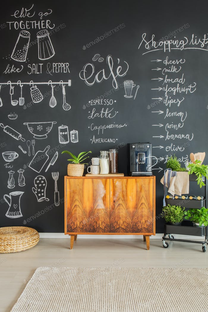 Chalk drawings on kitchen wall