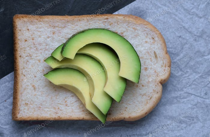 Sliced avocado on the sliced bread