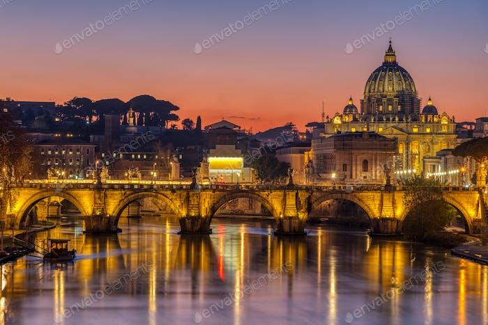 Der Tiber und die Basilika St. Peters