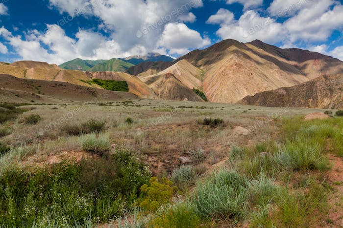 Landscape of colored mountain near Kokemeren river, Kyzyl-Oi, Kyrgyzstan
