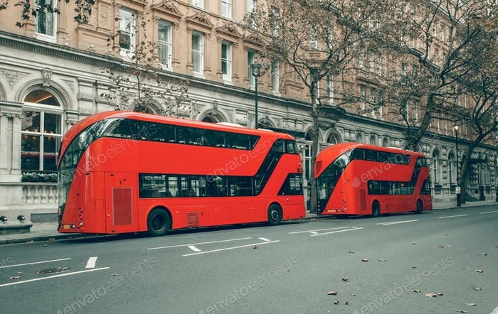 London's red buses in station. Bus of the public transport