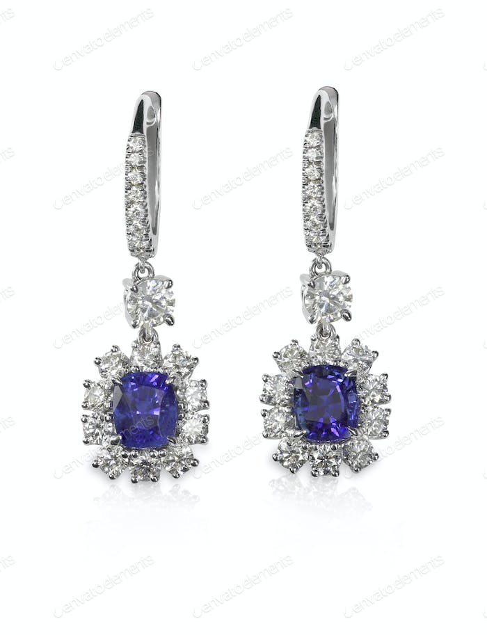 Blue Gemstone Sapphire tanzanite Earrings WIth Diamonds