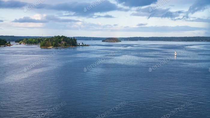 panorama of Baltic Sea with green island