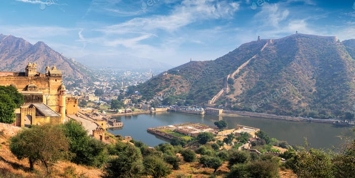View of Amer Amber fort and Maota lake, Rajasthan, India