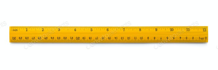 Yellow wooden ruler