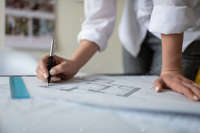 Cropped interior designer drawing blueprint
