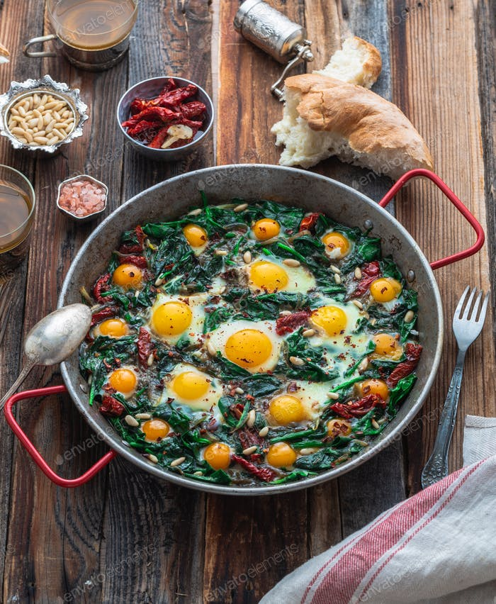 Healthy Spinach with fried egg, turkish cuisine
