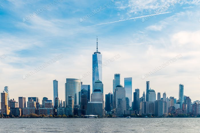 New York City skyline and Downtown Manhattan from Jersey City