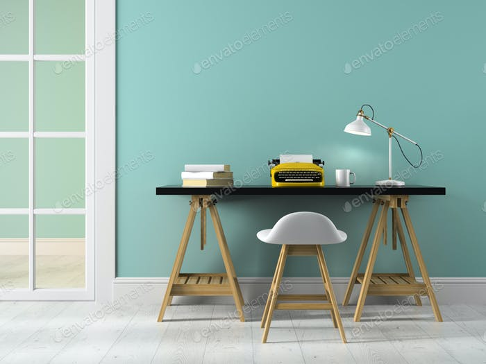 Part of interior with table and typewriter 3D rendering