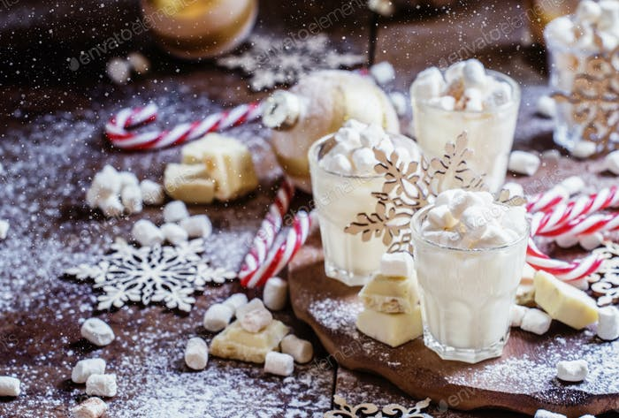 Sweet dessert with white chocolate, Christmas or New Year's composition