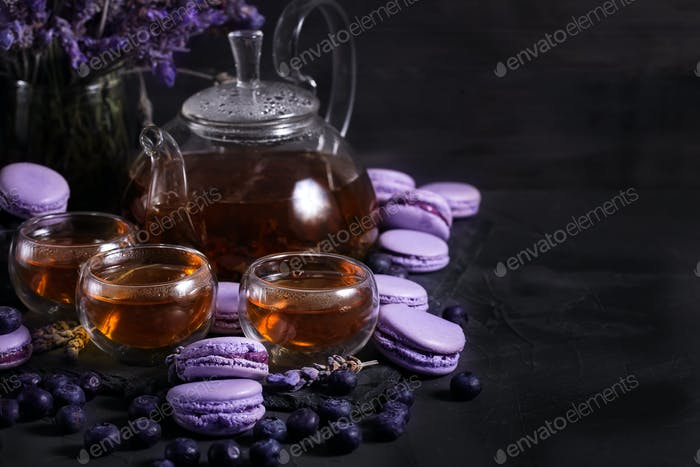 Lavander tea with macarons background