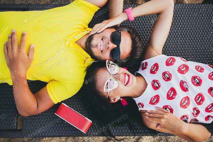 young stylish hipster beautiful couple holiday romance