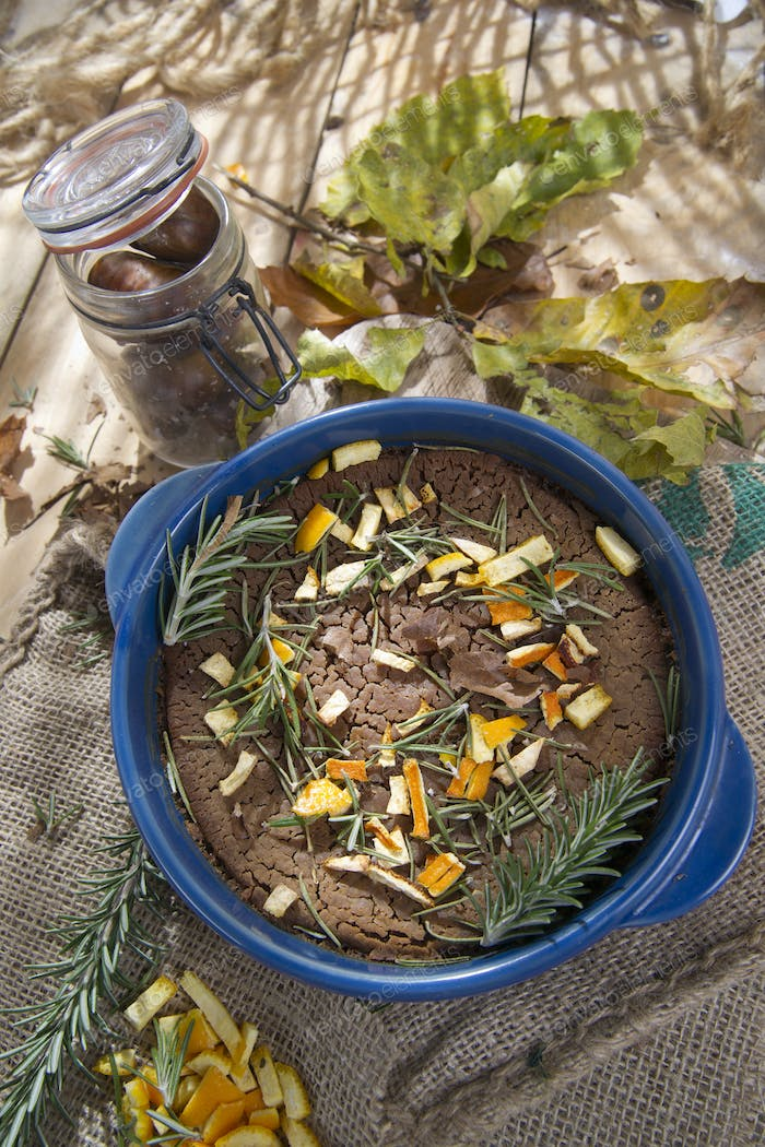 Chestnut flour cake with orange and rosemary