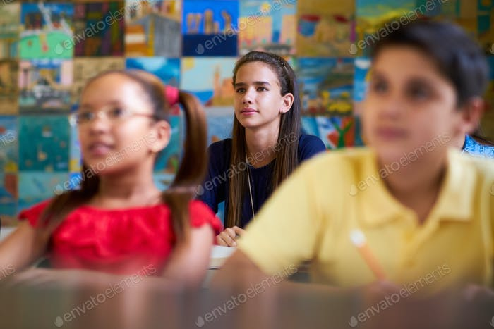 Smart Girl Listening to Teacher At School
