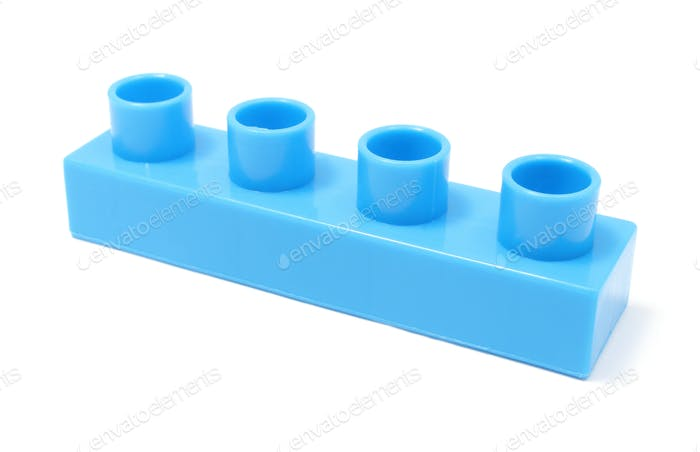 Blue building block on white background
