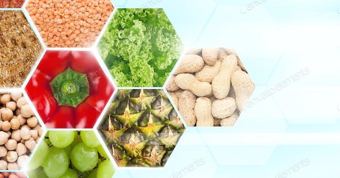 Gesundes und vegetarisches Essen voller Kohlenhydrate im Rahmen