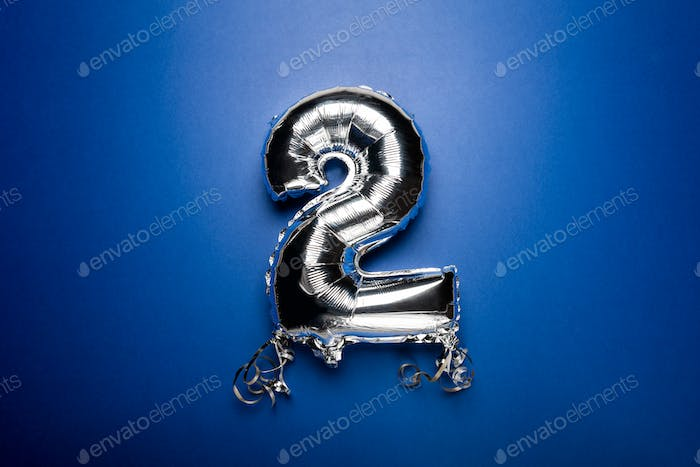 Silver Number Balloon 2