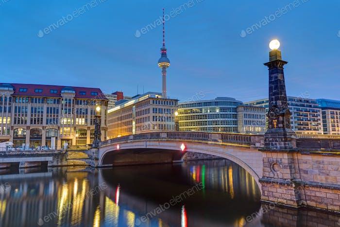 Historic bridge over the river Spree in Berlin