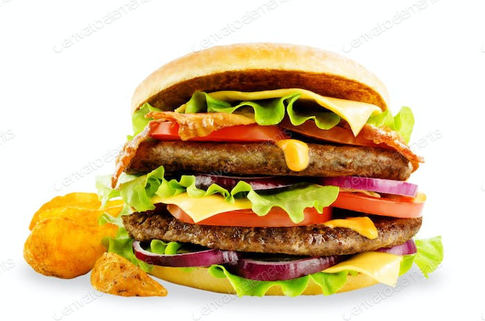 Meat Burger with salad, cheese, tomato and cheese sauce isolated