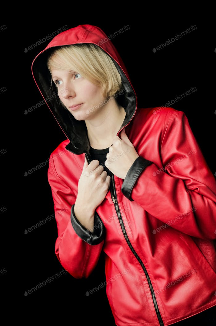 Woman Posing with a reversible Leather Jacket