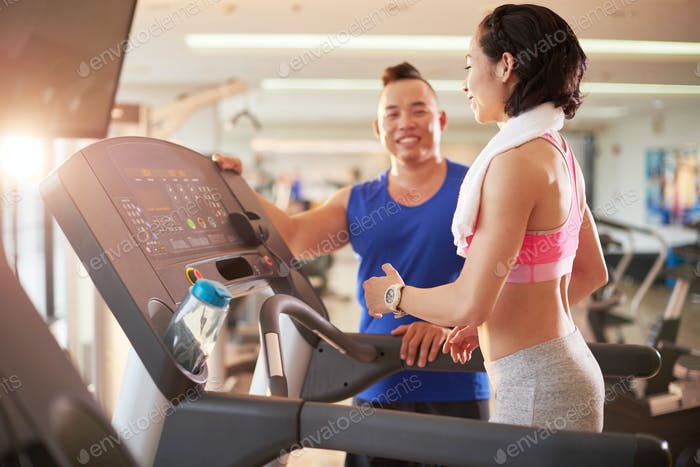 Working out with fitness trainer