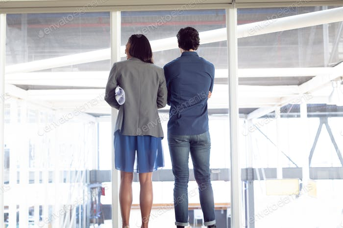 Rear view of diverse male and female architects looking through window in office