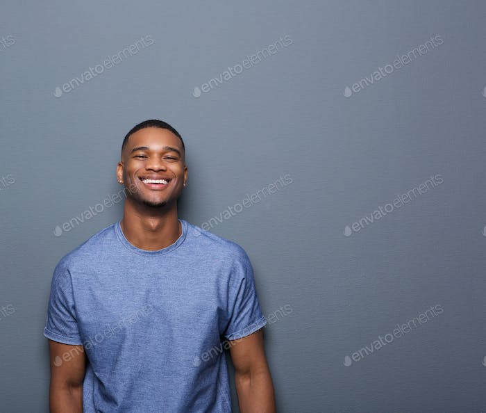 Cheerful young african american man