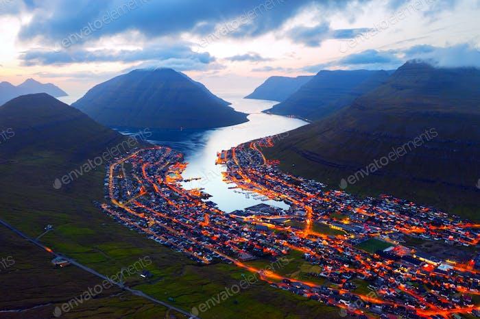 Fantastic aerial evening cityscape of Klaksvik town