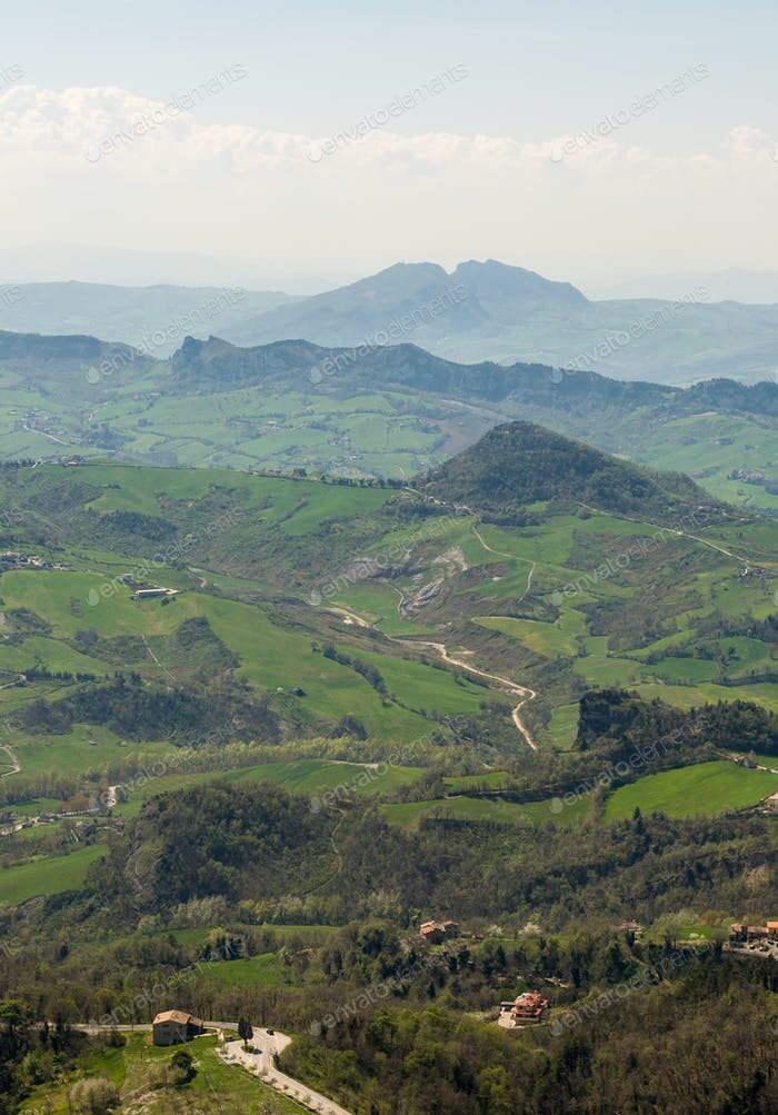 Panoramic view of the hills from the fortress of San Marino