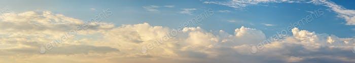 Sky clouds horizontal panorama at mornig sunlight.