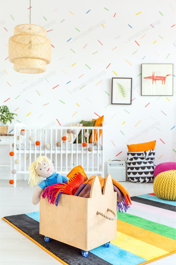 Child room with toy box
