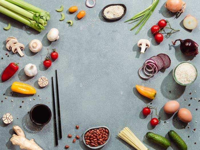 Asian chinese ingredients, copy space