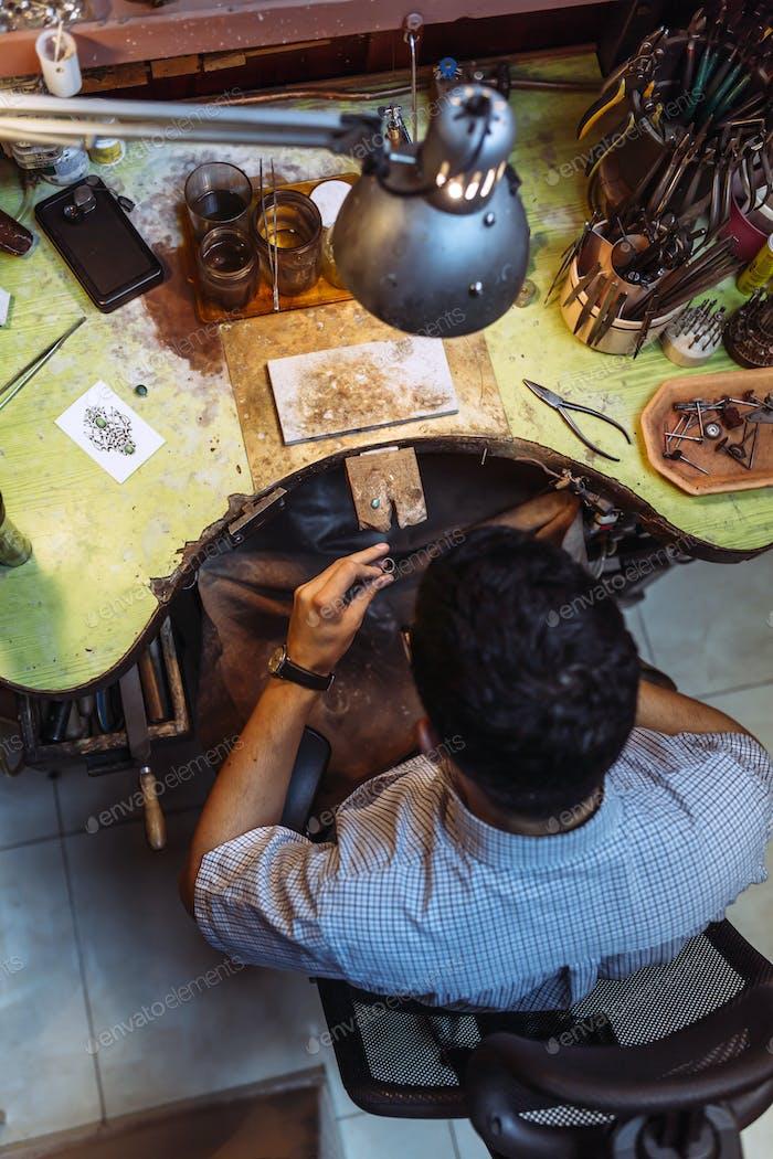 Cute craftsman working