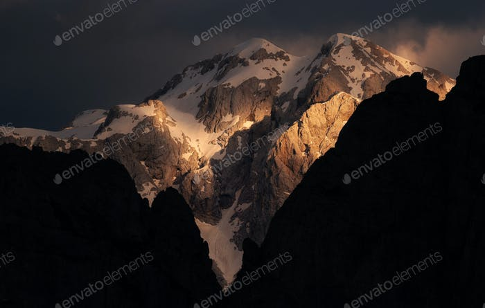 Sunset in the mountains of the Julian Alps