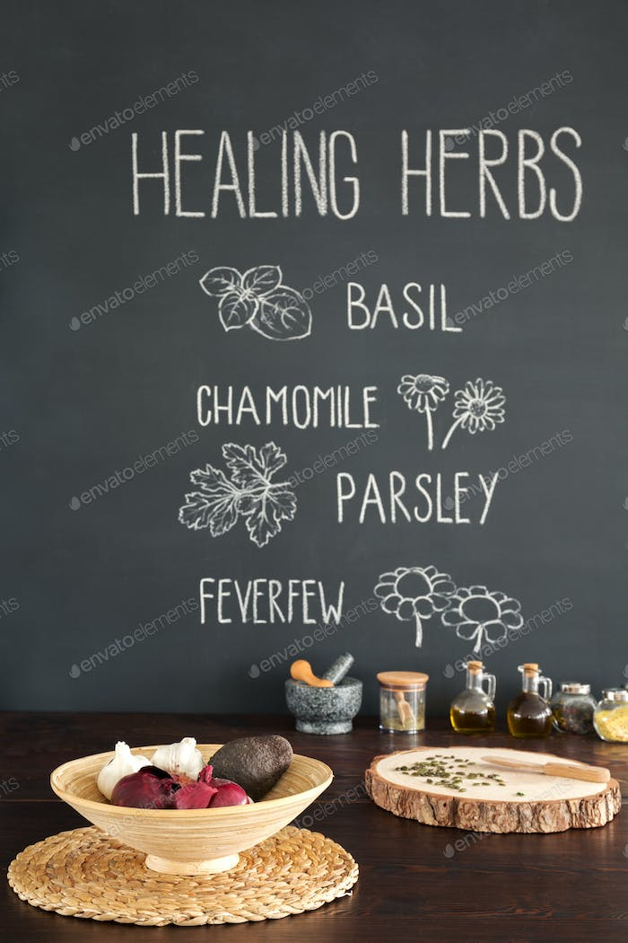 Drawings of herbs in a kitchen