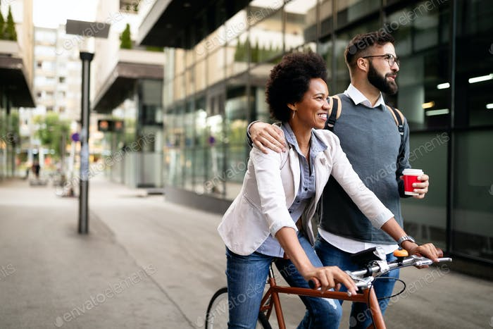 Happy young couple with bicycle. Love, relationship, people, freedom concept
