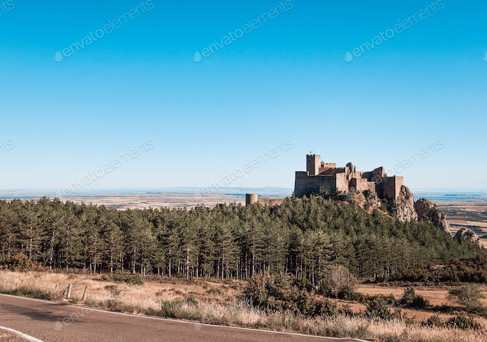 Panoramic view of the Sobrarbe Castle in Huesca, Spain