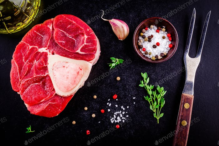 raw fresh veal shank meat for ossobuco