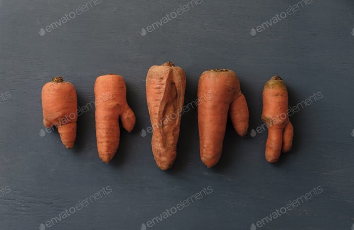 Ugly carrots with unusual shapes
