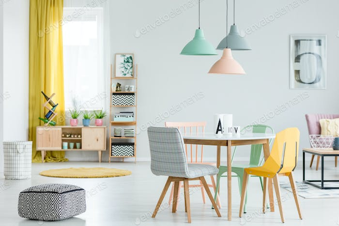Dining room with colorful chairs